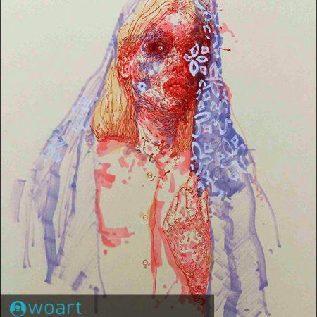 نام هنرمند: سمانه اسحاقی | عنوان اثر: زن ایرانی۲ | تکنیک: میکس مدیا | ابعاد: ۲۱در۳۰ سانتیمتر